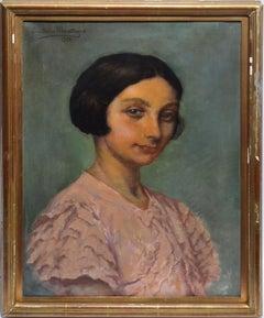 Antique Belgian Portrait Oil Painting of a Young Woman by Emil De La Montagne