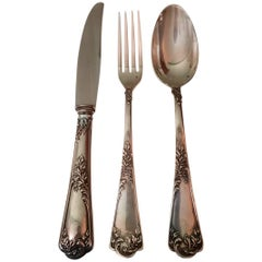 Emile Puiforcat 19th Century Engraved Silver Rococo French Flatware Set, 1870s