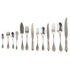 Emile Puiforcat Paris Elysée Cutlery Set Sterling Pure Silver, 293 Pieces