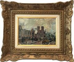 """""""Notre Dame de Paris"""" Parisian City Street Scene with Notre Dame Oil Painting"""