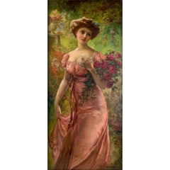 Portrait of a Young Beauty Holding a Bouquet of Roses by Emile Vernon