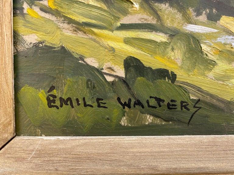 Masonite Emile Walters Landscape Painting For Sale