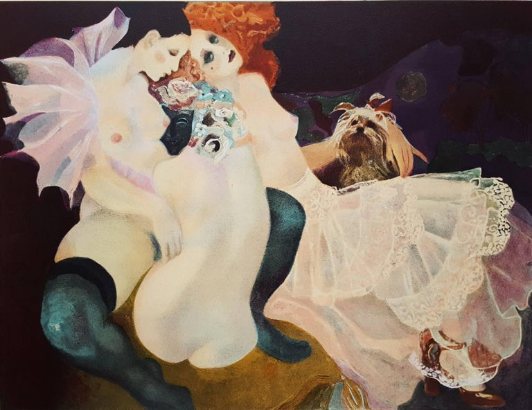 """An original signed lithograph on Arches heavy wove paper by Spanish artist Emilia Castaneda (1943-) titled """"Pierrette et Colombine"""", c. 1982. Hand pencil signed by Castaneda lower right and numbered lower left. Limited edition: 17/225. Arches France"""