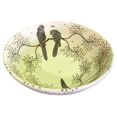 Emilia Castillo Los Castillo Signed Sterling Silver Parrot Pottery Ceramic Bowl