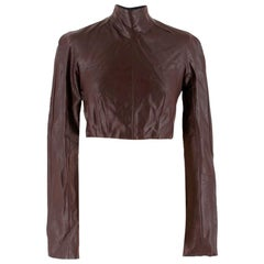 Emilia Wickstead Cropped Brown Leather Open Back Top - Size Estimated XS