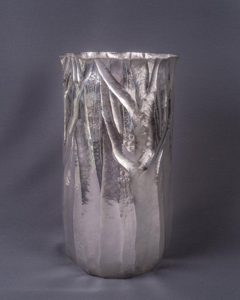 Argentine Emiliano Céliz, Flores y Pellines, No. 201, Silver Plated Vase, Argentina, 2020 For Sale