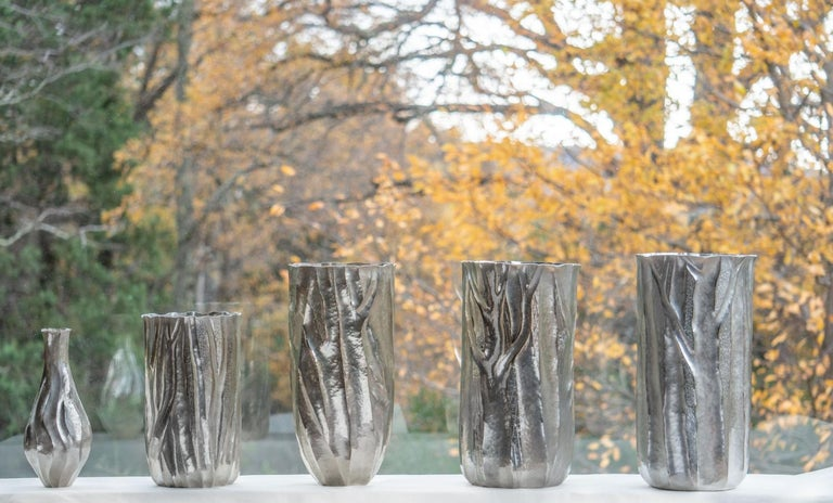 Silvered Emiliano Céliz, Flores y Pellines, No. 201, Silver Plated Vase, Argentina, 2020 For Sale