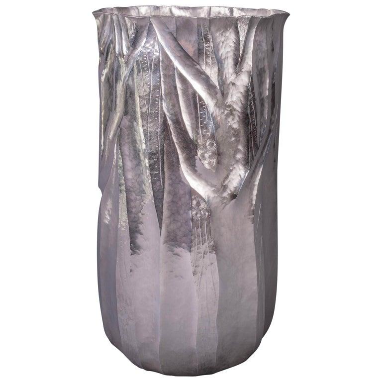 Emiliano Céliz, Flores y Pellines, No. 201, Silver Plated Vase, Argentina, 2020 For Sale