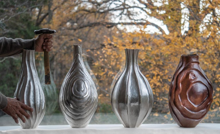 Emiliano Céliz, Leaves XVII, Silver Plated Vase, Argentina, 2020 In Excellent Condition For Sale In New York, NY