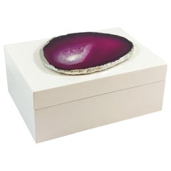 Emiliano Small Agate Box in White and Pink Stone by CuratedKravet