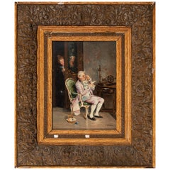 "Emilio Álvarez Díaz ""Surprised Gentleman"", Early 20th Century Oil on Wood"