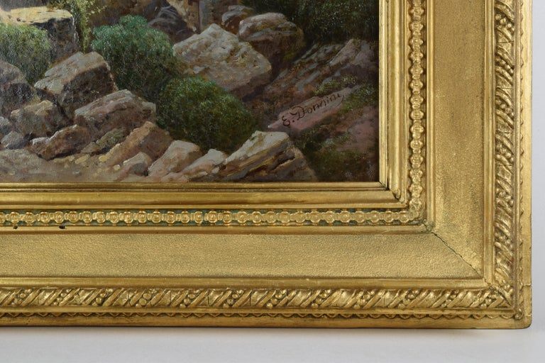Emilio Donnini Tuscan Landscape, Oil on Canvas with Gilt Frame For Sale 5