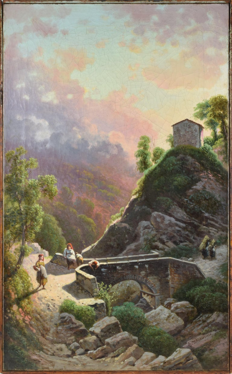Tuscan landscape with bridge over a stream and peasant women Signed