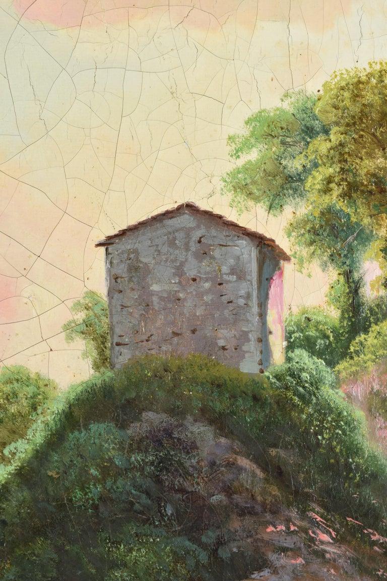 Italian Emilio Donnini Tuscan Landscape, Oil on Canvas with Gilt Frame For Sale