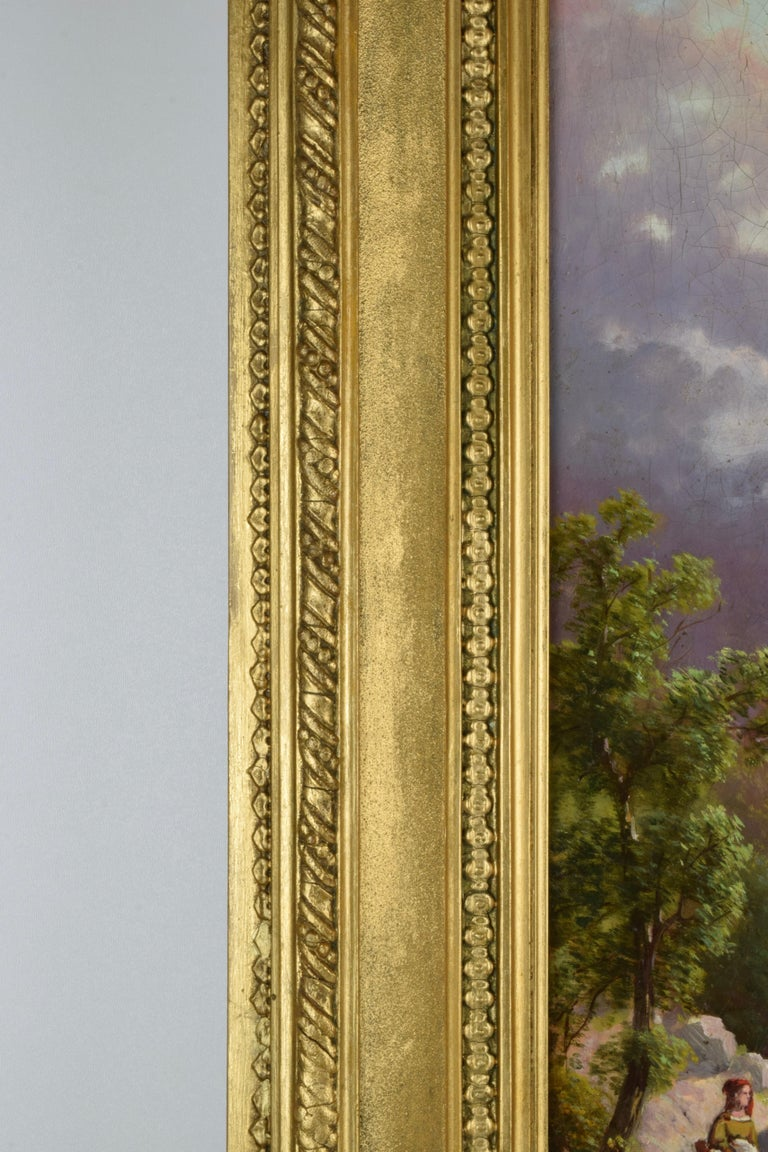 Emilio Donnini Tuscan Landscape, Oil on Canvas with Gilt Frame For Sale 3