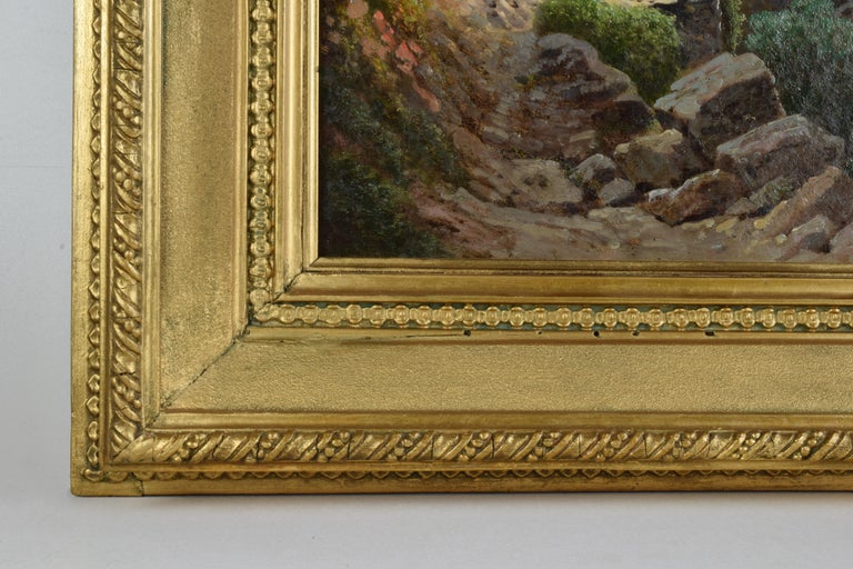 Emilio Donnini Tuscan Landscape, Oil on Canvas with Gilt Frame For Sale 4