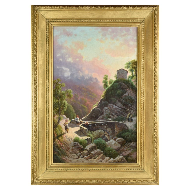 Emilio Donnini Tuscan Landscape, Oil on Canvas with Gilt Frame For Sale
