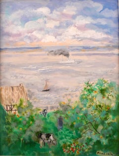"""L'estuaire de la Seine, Normandie"" 20th Century Oil on Canvas by E. Grau Sala"