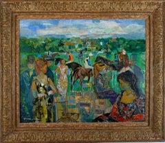 """""""Avant la course"""" Deauville 1964, 20th Century oil on canvas by Emilio Grau Sala"""