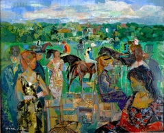 """Avant la course"" Deauville 1964, 20th Century oil on canvas by Emilio Grau Sala"