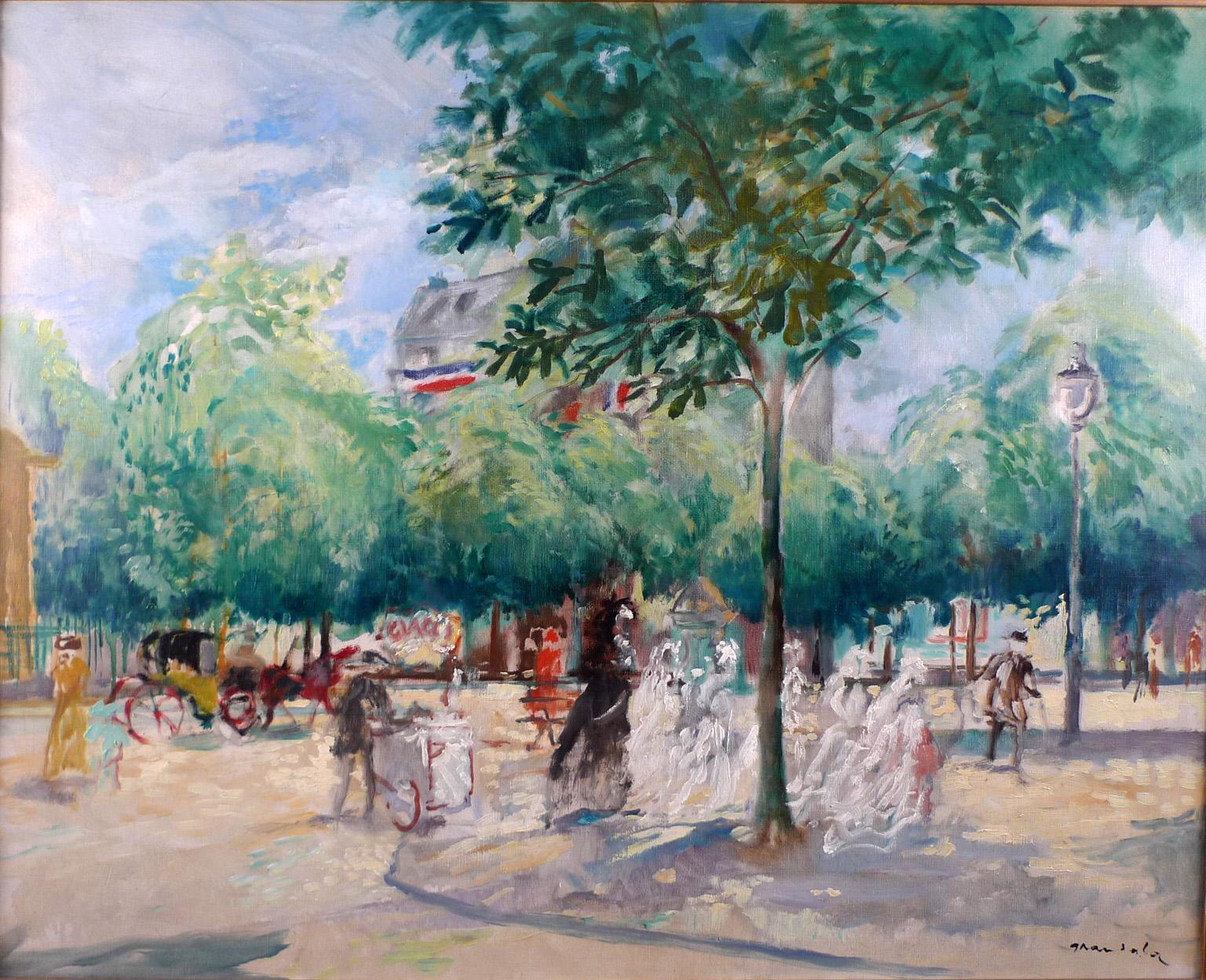 """Boulevard of Paris"", 20th Century oil on canvas by Spanish artist E. Grau Sala"