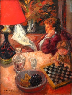 """Checkers"" Mother and Child Interior, 20th Century Oil on Canvas by E. Grau Sala"