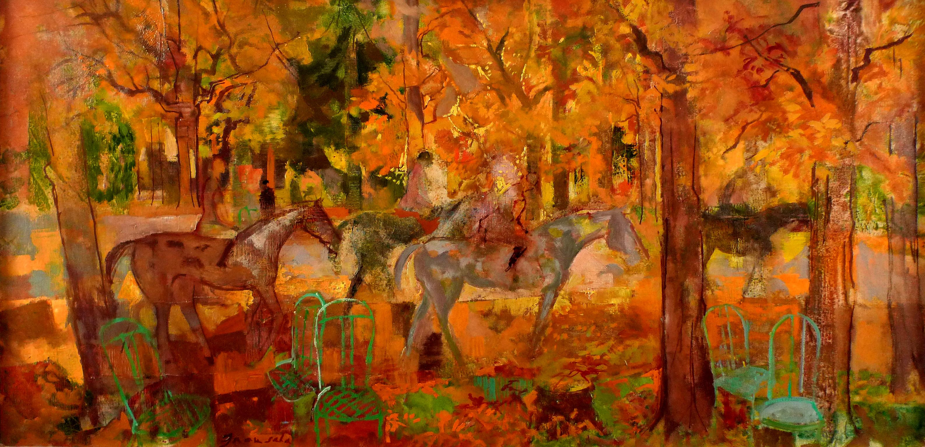 """Horse Riding in Autunm"", 20th Century Oil on Canvas by Emilio Grau Sala"