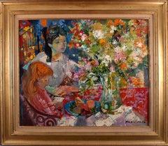 """""""Interieur au Bouquet, Paris 1964"""", 20th Century Oil on Canvas by E. Grau Sala"""