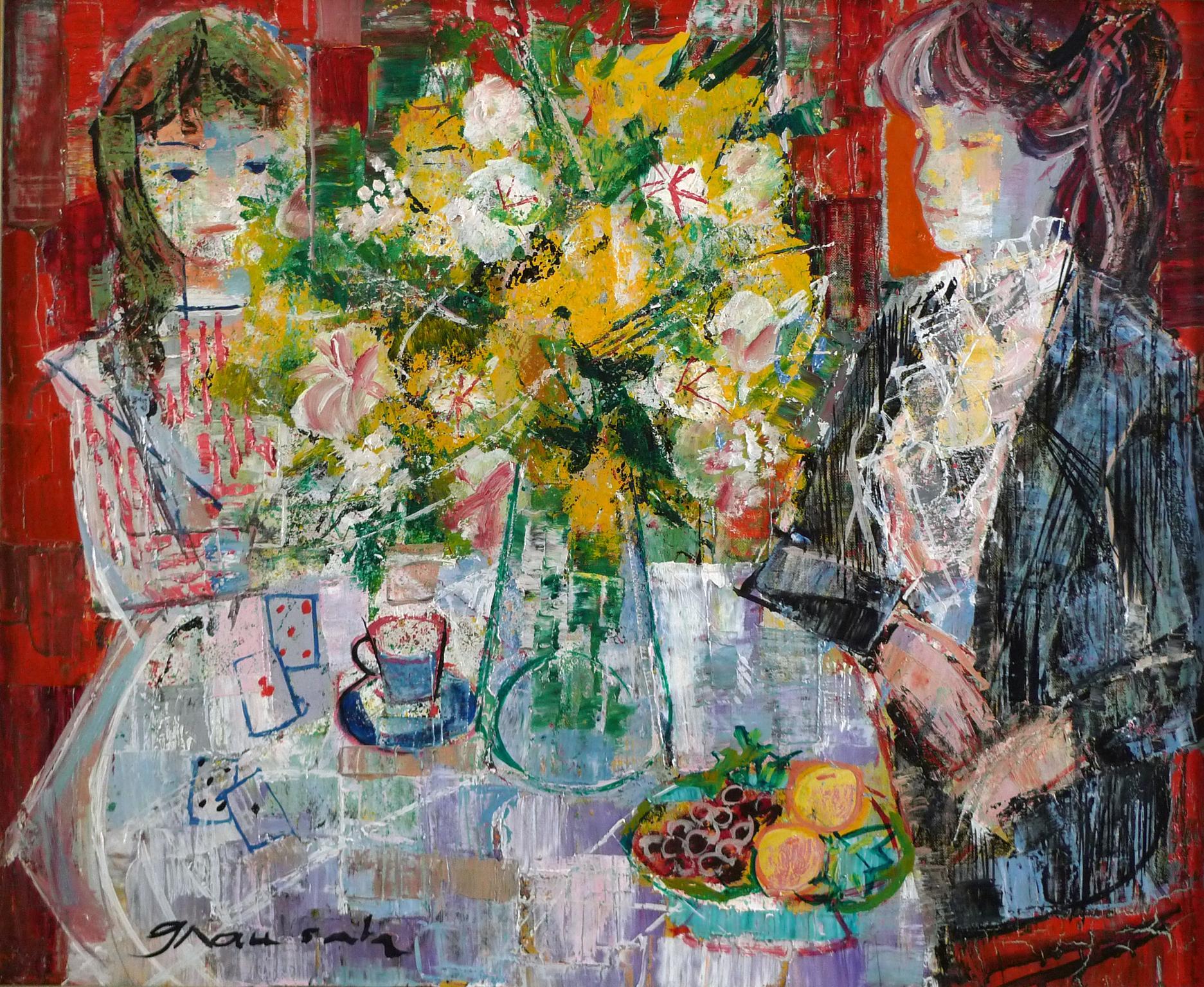 """""""Interieur aux Fleurs Jaunes"""" 20th Century Oil on Canvas by Emilio Grau Sala"""