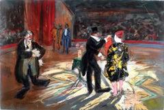 """Le Cirque"", 20th Century Pastel on Canvas by Spanish Artist Emilio Grau Sala"