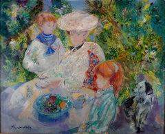 """""""Le petit déjeuner dans le jardin"""", 20th Century oil on canvas by E. Grau Sala"""
