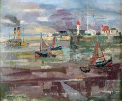 """""""Marée Basse"""" Honfleur 1963,  20th Oil on Canvas by Spanish Artist, E. Grau Sala"""