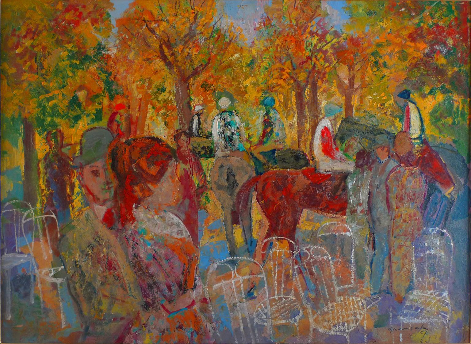 """Paddock"", 20th Century oil on cardboard by Spanish painter Emilio Grau Sala"