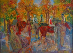 """Paddock"", 20th Century oil on cardboard by Spanish painter Emilio Grau Sala"