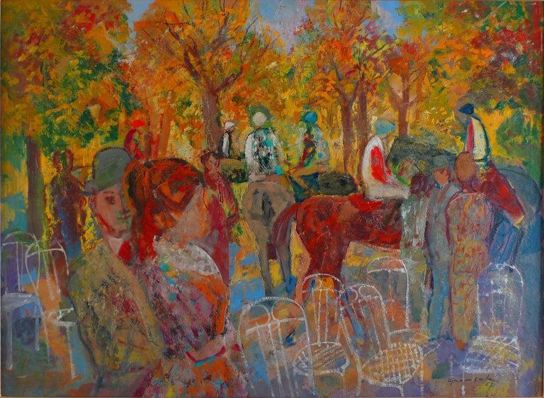 """Paddock"", 20th Century oil on cardboard by Spanish painter Emilio Grau Sala - Painting by Emilio Grau Sala"