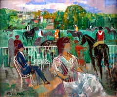 """Paddock at Deauville, 1964"", 20th Century Oil on Canvas by Emilio Grau Sala"