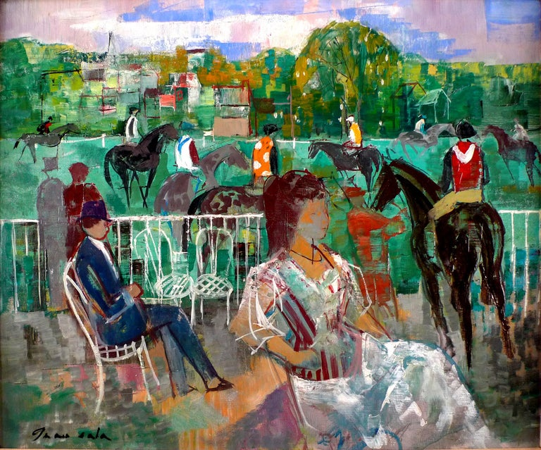 """EMILIO GRAU SALA Spanish, 1911 - 1975 PADDOCK AT DEAUVILLE, 1964 signed Grau Sala (lower left) signed again,  dated and located """"Grau Sala, 1964 Deauville"""",  ( on the reverse ) oil on canvas 21-3/8 X 25-3/4 inches (54 X 65 cm.) framed: 29-1/2 X"""