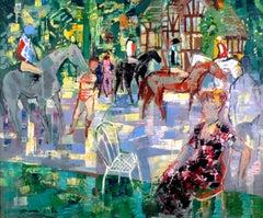 """Padock en Normandie"" Oil on Canvas by 20th Century  Spanish Artist E. Grau Sala"