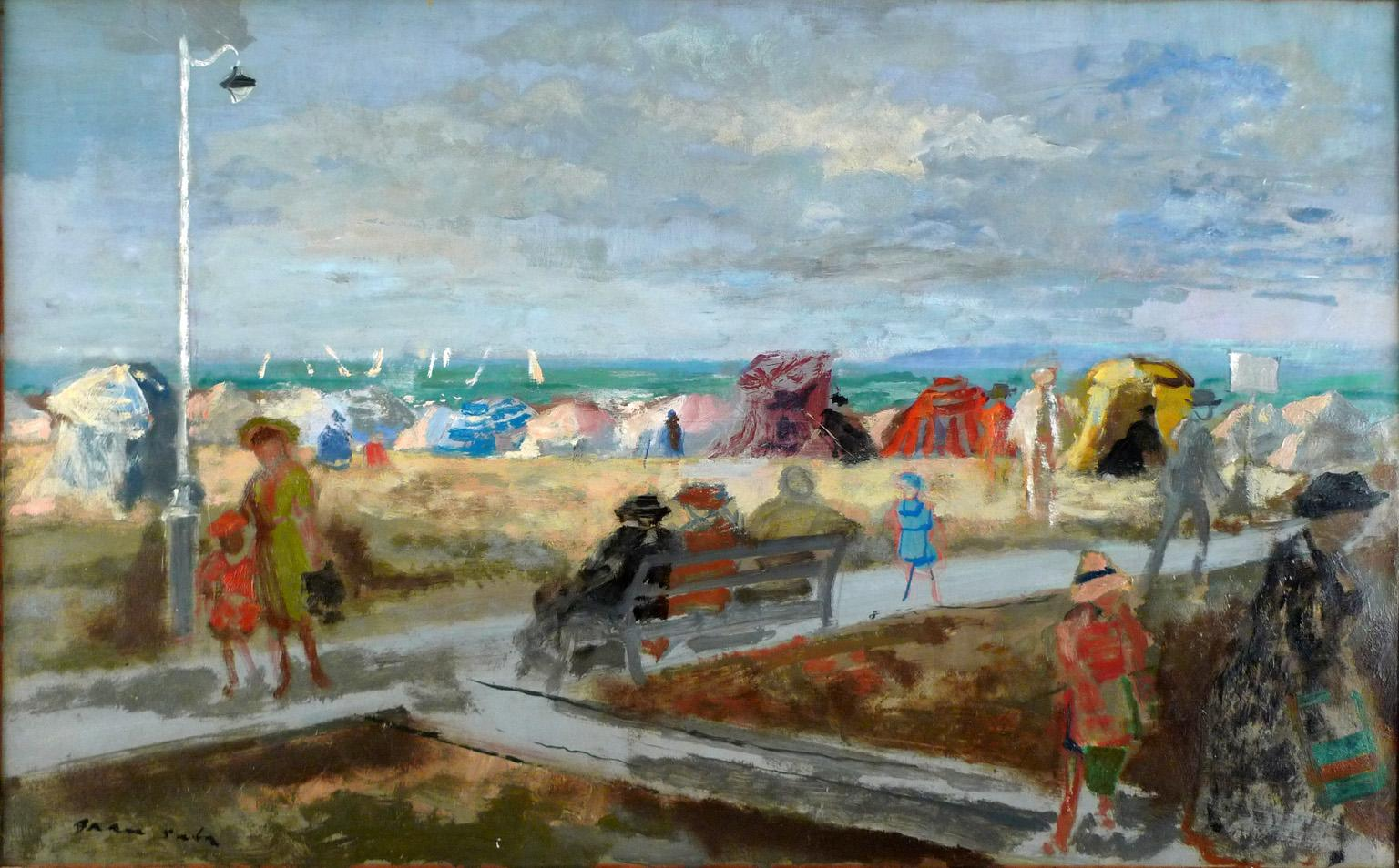 """""""Plage de Trouville"""" 1953, 20th Century oil on canvas by Emilio Grau Sala"""