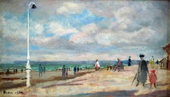 """Plage de Trouville"" Sept. 1953, 20th Century oil on canvas by Emilio Grau Sala"