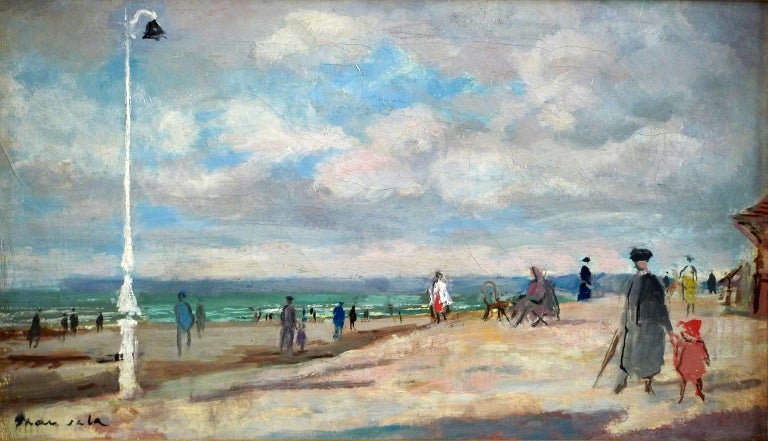 """EMILIO GRAU SALA Spanish, 1911 - 1975 TROUVILLE, SEPTEMBRE 1953 signed Grau Sala (lower left) signed again, located & dated """"Grau Sala, Trouville, Septembre  1953"""" on the reverse oil on canvas 9-1/2 X 16-1/4 inches (24 X 41 cm.) framed: 16 X 22-3/4"""