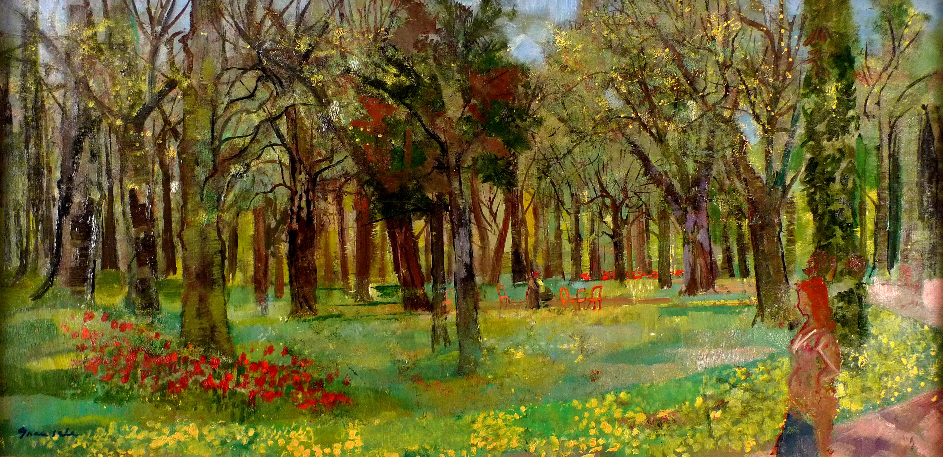 """""""Spring in Bagatelle"""", 20th Century Oil on Canvas by Spanish Artist E. Grau Sala"""