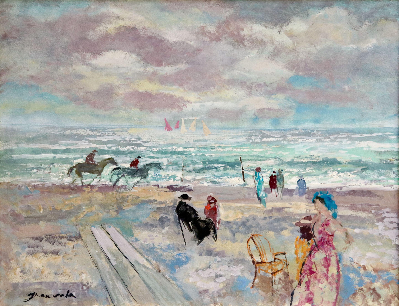 Trouville - 20th Century Oil, Figures on the Beach Landscape by Emilio Grau Sala