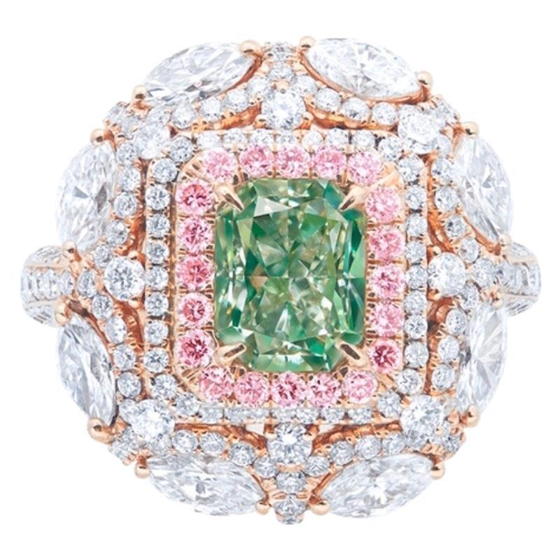 Emilio Jewelry GIA Certified Fancy Green Diamond Ring