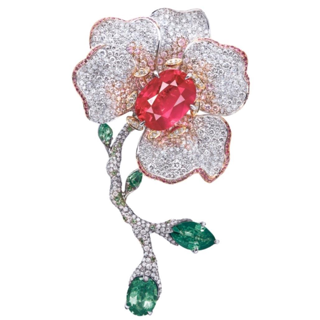 Emilio Jewelry 10 Carat Certified No Heat Burmese Ruby Brooch