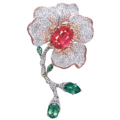 Emilio Jewelry 10 Carat Certified No Heat Burmese Ruby Brooch