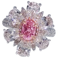 Emilio Jewelry 1.00 Carat Fancy Purplish Pink Diamond Ring