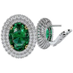 Emilio Jewelry 10.00 Carat Certified Emerald Diamond Earring in Platinum