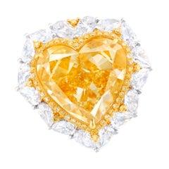Emilio Jewelry 10.00 Carat GIA Certified Fancy Yellow Heart Diamond Ring