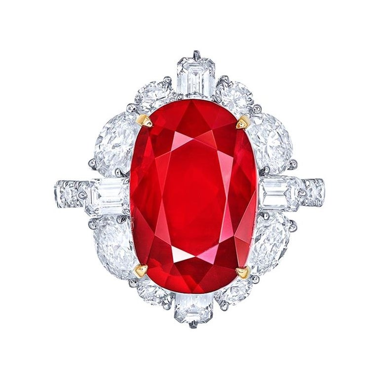 Emilio Jewelry 10.00 Carat Unheated Pigeons Blood Vivid Red Ruby Ring For Sale